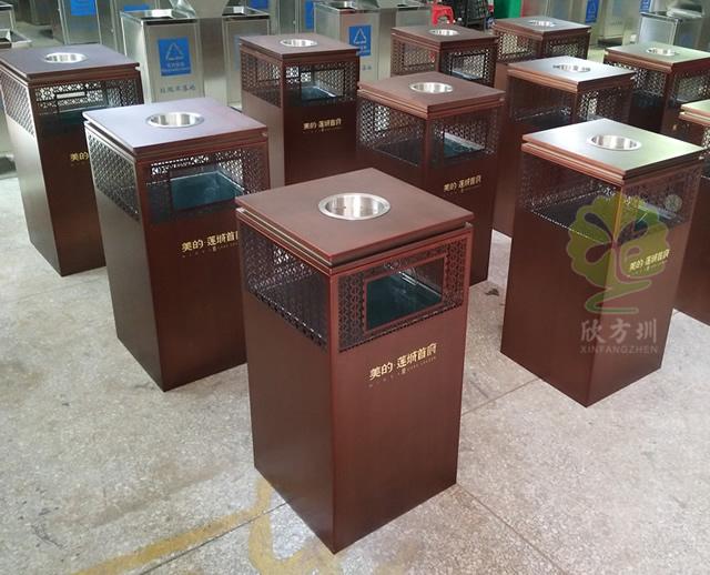 高档物业室内方形不锈钢垃圾桶