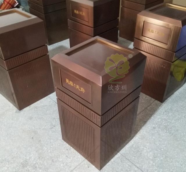 室内高档电镀古铜色不锈钢垃圾桶