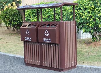 公园创意两分类钢木垃圾桶主图