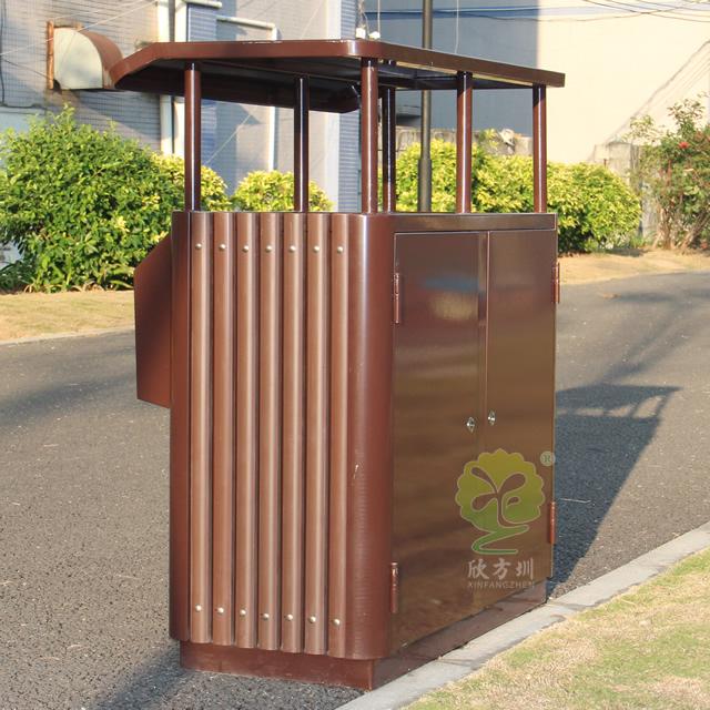 公园创意两分类钢木垃圾桶