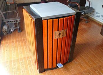 小型室内脚踏式钢木果皮箱主图