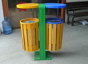 户外双筒钢木垃圾桶主图