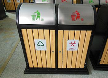 摇盖户外分类钢木垃圾桶主图