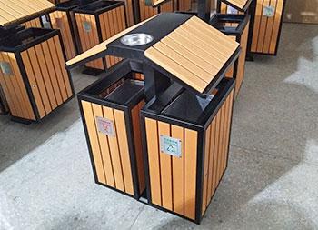 户外屋形两分类钢木垃圾箱主图