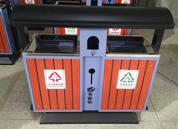 植物园景区分类钢木垃圾桶主图