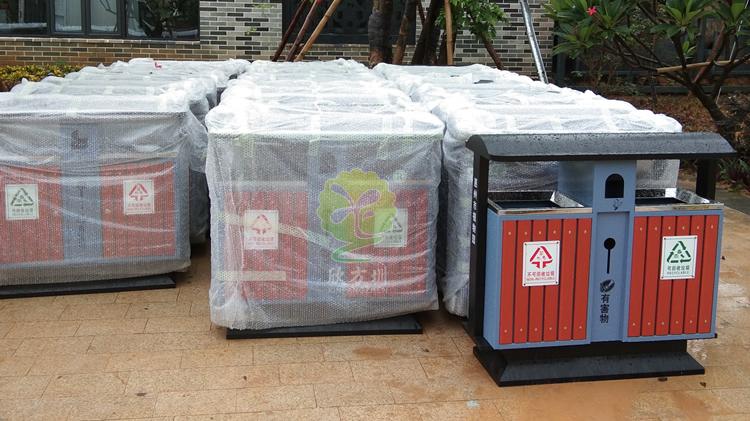植物园景区分类钢木垃圾桶