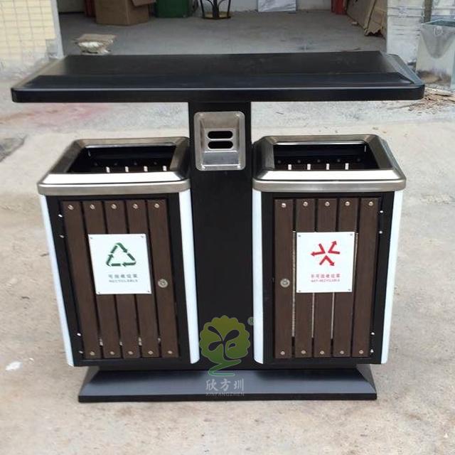 物业小区分类钢木垃圾箱