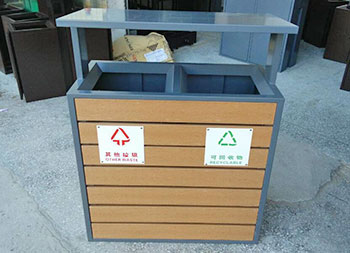 街道简洁分类钢木垃圾箱主图