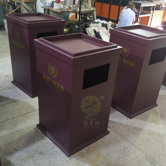 喷塑物业室内方形钢制果皮箱