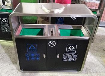 公园景区户外分类钢制垃圾箱主图