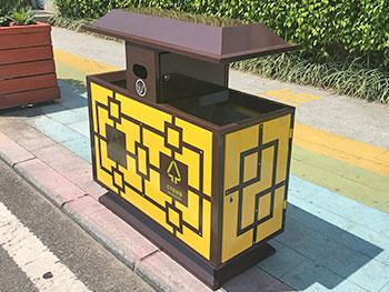 户外屋形高档钢制分类垃圾桶主图
