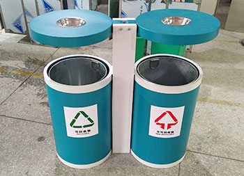 户外圆柱形分类钢制垃圾桶主图