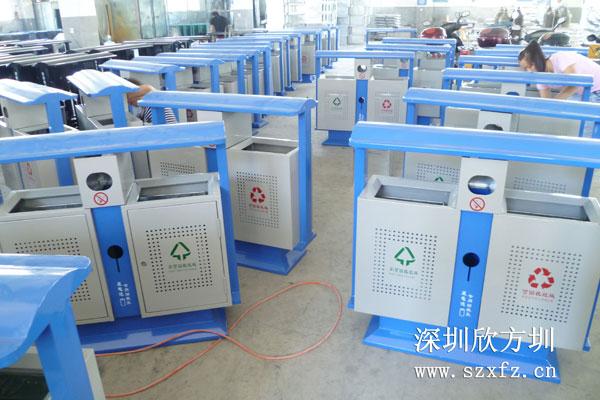 云浮技工学校订购欣方圳钢板冲孔垃圾桶