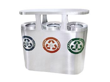 广场三分类不锈钢垃圾桶