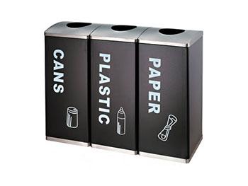 三联分类铁板喷塑垃圾桶