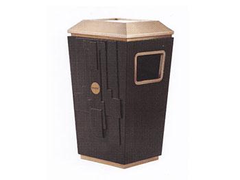 带檀木铁板喷塑垃圾桶