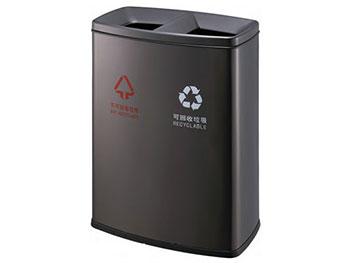 黑色双桶分类铁板喷塑垃圾桶