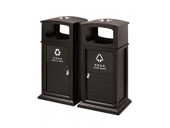 双桶分类钢制垃圾桶