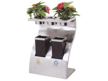 带花盆钛金垃圾桶