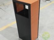 室内方形塑木钢板果皮箱
